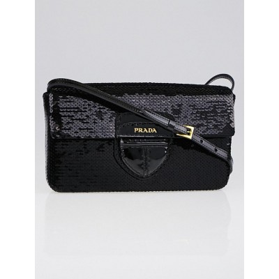Prada Black Paillettes Bar Clutch Bag