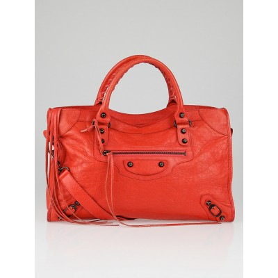 Balenciaga Rose Corail Lambskin Leather Motorcycle City Bag