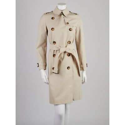 Burberry London Stone Polyester Blend Ivybridge Trench Coat Size 4