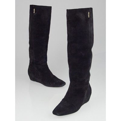 Prada Black Suede Knee High Wedge Boots Size 8/38.5