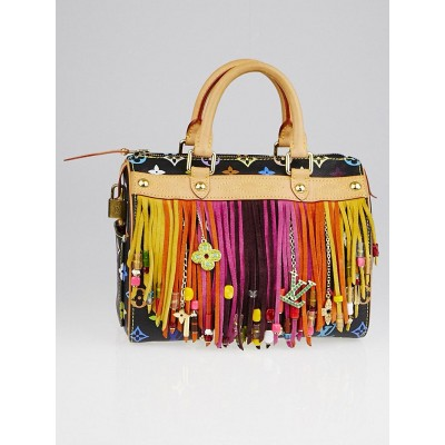 Louis Vuitton Limited Edition Black Monogram Multicolore Fringe Speedy 25 Bag