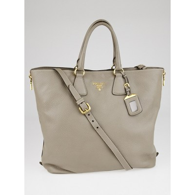 Prada Argilla Vitello Daino Leather Large Shopping Tote Bag BN2419