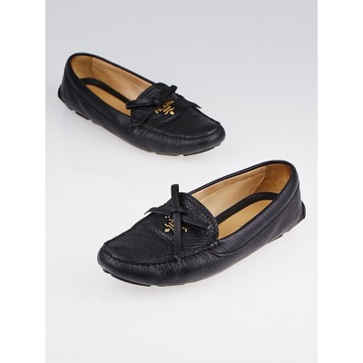 Prada Black Leather Moccasin Loafers Size 6.5/37