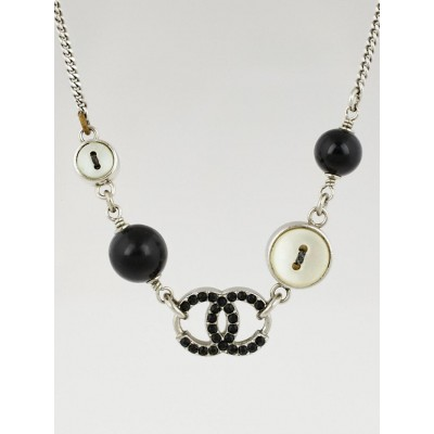 Chanel Silvertone CC and Button Charms Necklace