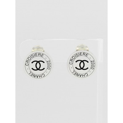 Chanel Silver Metal Cruise CC Logo Disc Clip-on Earrings