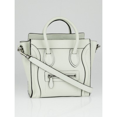 Celine Chalk Drummed Leather Nano Luggage Tote Bag