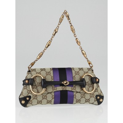 Gucci Beige/Black GG Canvas Horsebit Chain Clutch Bag