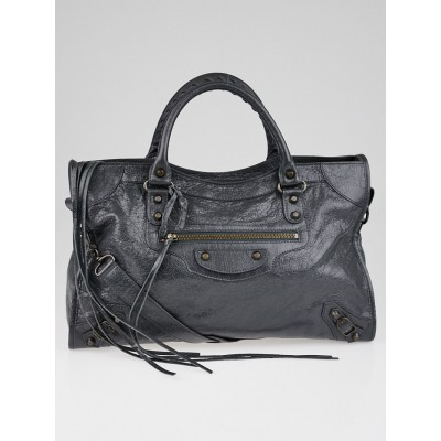 Balenciaga Gris Fossile Lambskin Leather Motorcycle City Bag