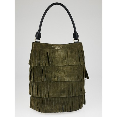 Burberry Prorsum Brown Suede Leather Fringed Tote