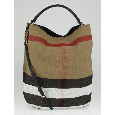 Burberry Black Canvas Check Medium Susanna Bucket Bag