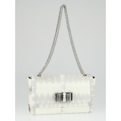 Christian Louboutin White/Grey Water Snake Hardwick Small Sweet Charity Shoulder Bag