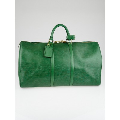 Louis Vuitton Borneo Green Epi Leather Keepall 55 Bag