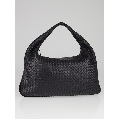 Bottega Veneta Black Intrecciato Woven Nappa Leather Large Veneta Hobo Bag