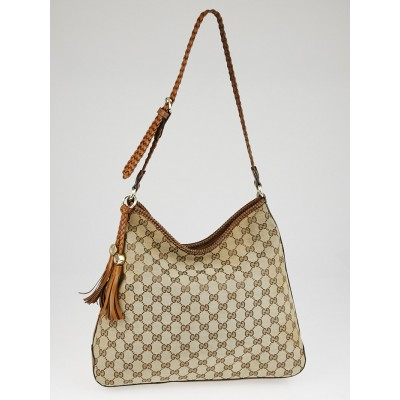 Gucci Beige/Brown GG Canvas Marrakech Hobo Bag