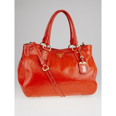 Prada Orange Textured Patent Leather Tote Bag w/Strap