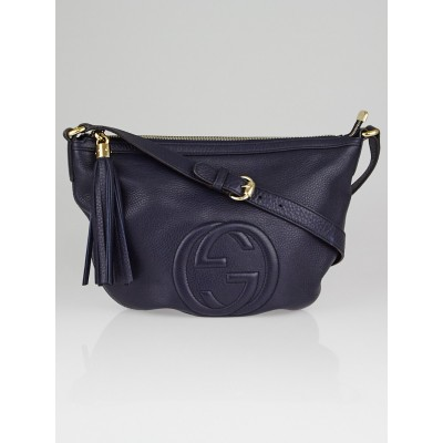 Gucci Navy Blue Pebbled Leather Soho Small Messenger Bag