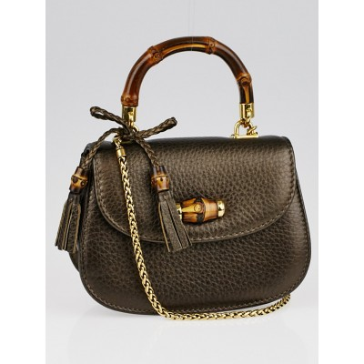 Gucci Bronze Pebbled Leather Bamboo Night Evening Bag