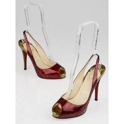 Christian Louboutin Bronze and Red Patent Leather No Prive Slingback Pumps Size 7.5/38