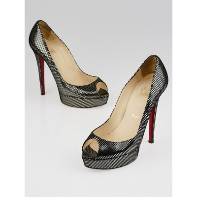 Christian Louboutin Pewter Suede Banana 140 Peep Toe Pumps Size 7/37.5