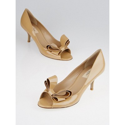 Valentino Beige Patent Leather Bow Peep Toe Pumps Size 9.5/40