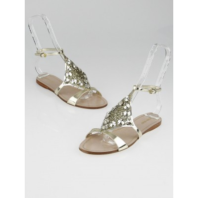 Miu Miu Gold Leather and Glitter Open-Toe Sandals 5X8694 Size 8/38.5