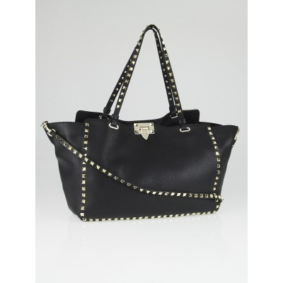 Valentino Black Leather Rockstud Trapeze Tote Bag