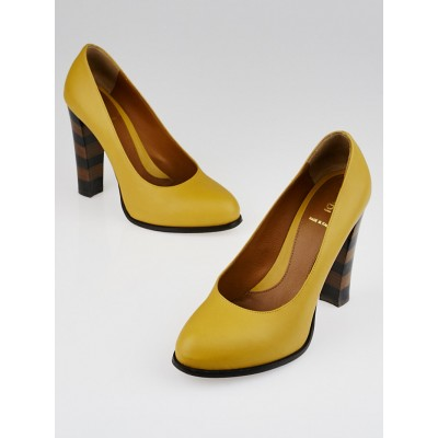 Fendi Yellow Leather Decollete Kansas Pumps Size 7.5/38