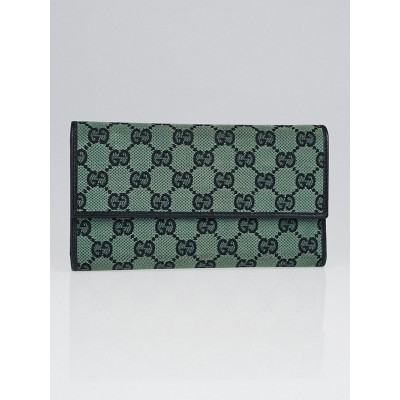 Gucci Green/Black GG Canvas Long Flap Wallet