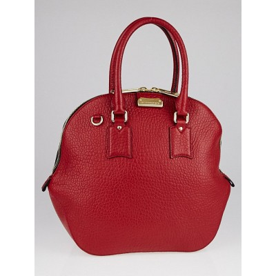 Burberry Military Red Grain Leather Medium Orchard Bag