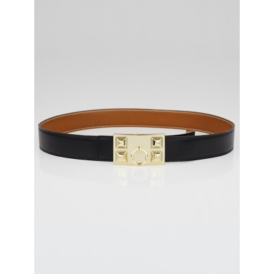 Hermes Black Box/Gold Courchevel Leather Gold Plated Collier de Chien Reversible Buckle Belt Size 90