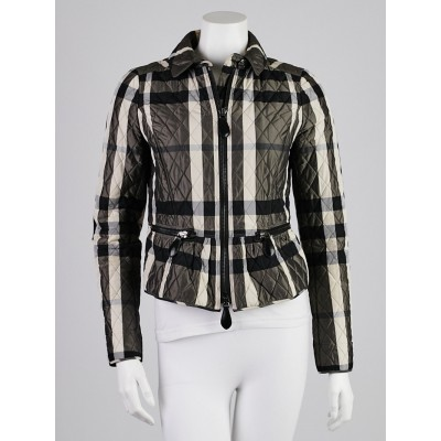 Burberry London Black/White Check Print Quilted Polyester Barcroft Jacket Size 4