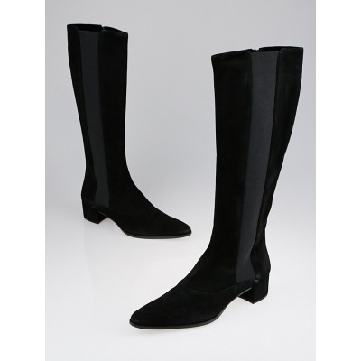 Prada Black Suede Knee High Pointed Toe Boots Size 8.5/39