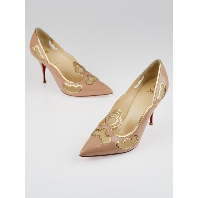 Christian Louboutin Nude Patent Leather Indies 85 Pumps Size 8.5/39