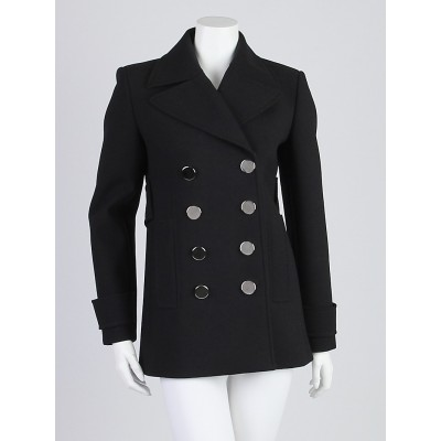 Gucci Black Wool Peacoat Size 6/40