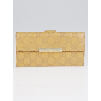 Gucci Beige Guccissima Leather Continental Flap Wallet