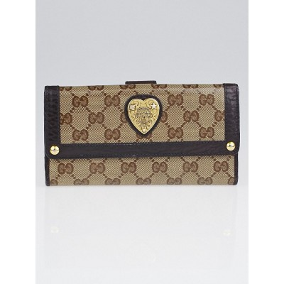 Gucci Beige/Ebony GG Crystal Canvas Babouska Continental Wallet