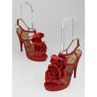 Valentino Red Leather Flower Platform Strappy Sandals Size 6.5/37