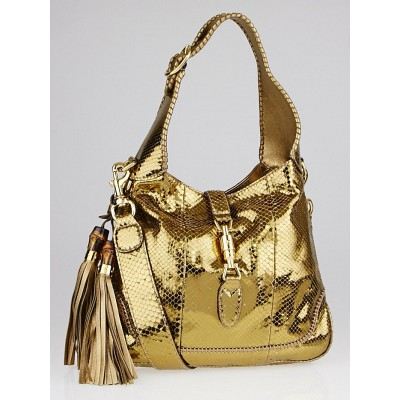 Gucci Gold Python Medium New Jackie Shoulder Bag