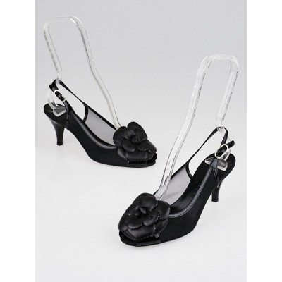 Chanel Black Leather Camellia Peep Toe Sling Back Heels Size 6.5/37
