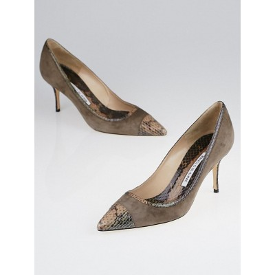 Manolo Blahnik Brown Suede and Watersnake Bottera Pumps Size 7.5/38
