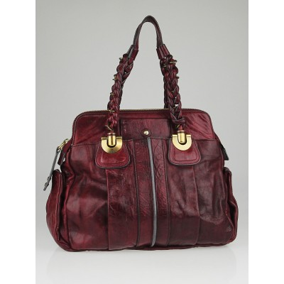 Chloe Plum Lambskin Leather Heloise Large Satchel Bag