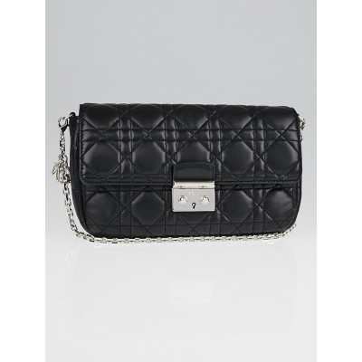 Christian Dior Black Cannage Quilted Lambskin Leather Miss Dior Small Flap Bag