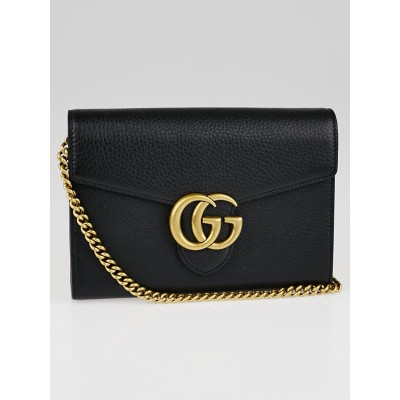 Gucci Black Leather GG Marmont Mini Chain Wallet Clutch Bag