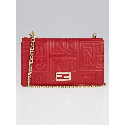 Fendi Red Embossed Leather Chain Clutch Bag 8M0219
