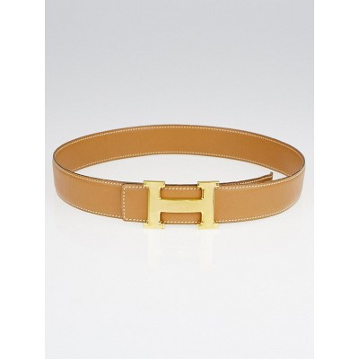 Hermes Vintage 32mm Gold Box Gold Leather Plated Constance H Belt Size 70