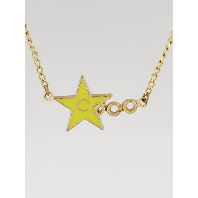 Chanel Yellow Enamel CC Star Coco Pendant Necklace