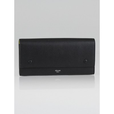 Celine Black Drummed Leather Large Flap Multifunction Wallet
