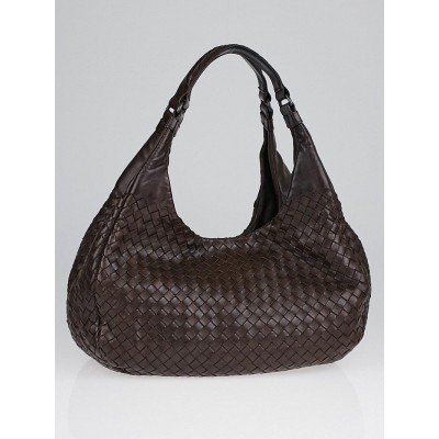 Bottega Veneta Ebano Intercciato Woven Nappa Leather Medium Campana Bag