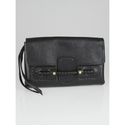 Alexander McQueen Black Leather Folk Clutch Bag