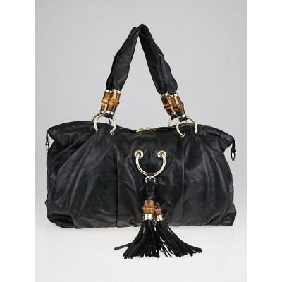 Gucci Black Leather Bamboo Beads Top Handle Bag